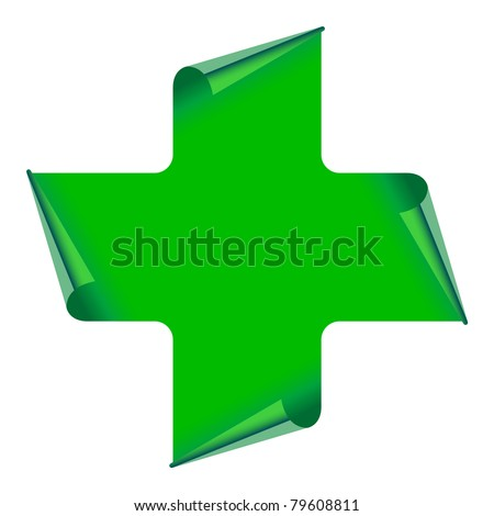 green cross sign with curled sides isolated on white