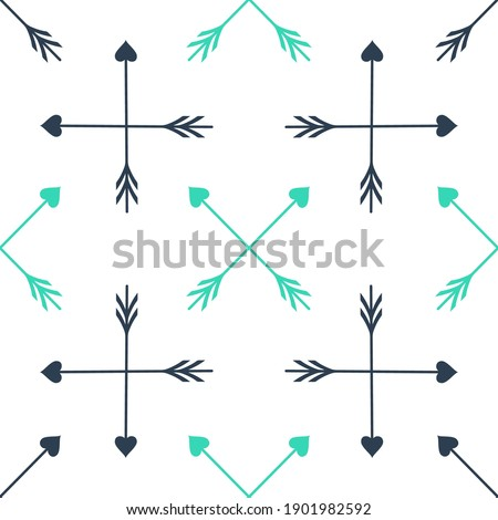 Green Crossed Cupid arrow heart, Valentines Day cards element icon isolated seamless pattern on white background. Vector.