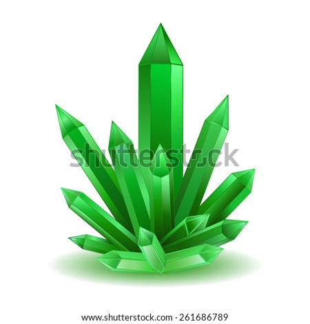 green crystal isolated vector