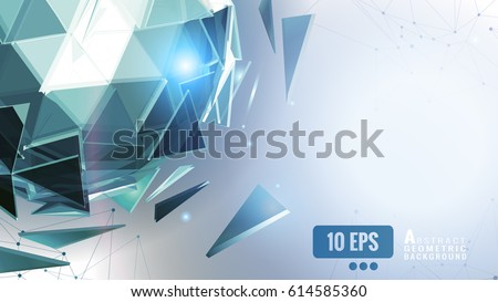 Green crystal polygonal abstract triangular sphere combine on lighting space rgraphic template background