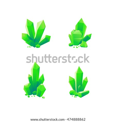 green crystals set