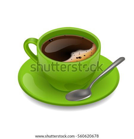 green cup of coffee vector