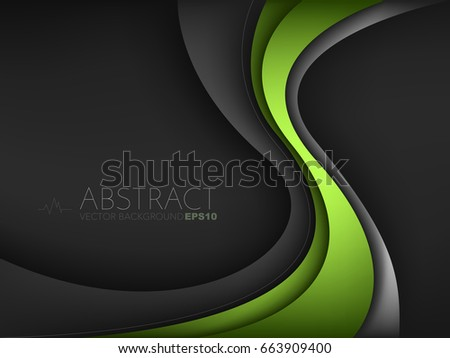 Green curve line vector background overlap layer on black space for text design