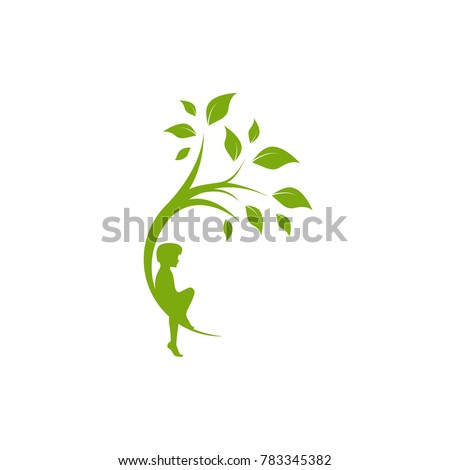 Green curved tree with leaves and child. Round border with boy. Isolated on white. Flat design. Vector illustration. Children education or care sign. Childhood logo.