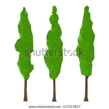 Green cypress trees, vector illustration