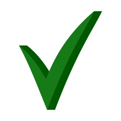 Green 3D checkmark, OK sign, vector checkmark sign of approval for elections
