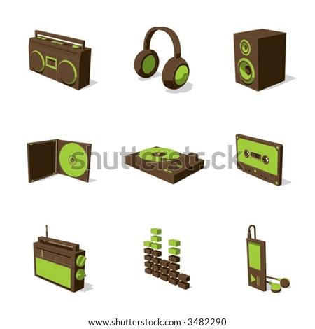 green 3D icon set 07