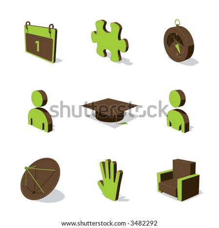 green 3d icon set 05