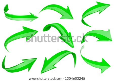 Green 3d shiny arrows. Set of bent icons. Vector illustration isolated on white background Foto d'archivio ©
