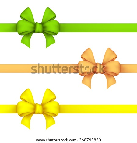 Green, daffodil and yellow gift bows. Set ribbons on a white background. EPS-10. Used a gradient mesh and transparency.