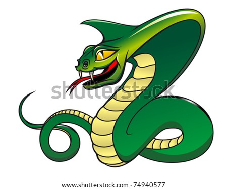 Green danger snake isolated on white as a warning concept. Jpeg version also available in gallery