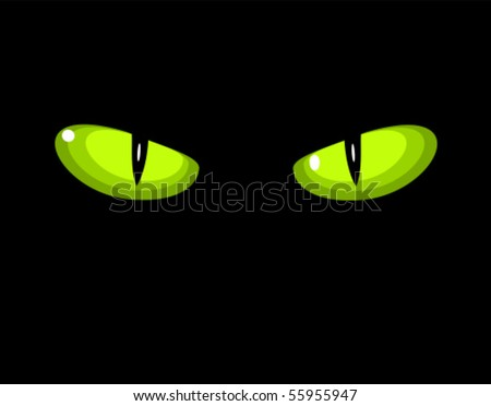 green dangerous wild cat eyes