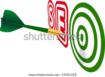 Green dart with SEO text on white background. Concept of success. Vector Illustration. EPS10