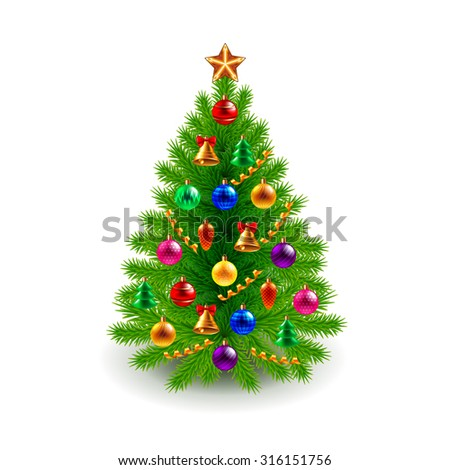 Green decorated Christmas tree isolated on white realistic vector - Shutterstock ID 316151756
