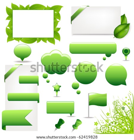 Green Design Elements And Icons, Isolated On White Background, Vector Illustration
