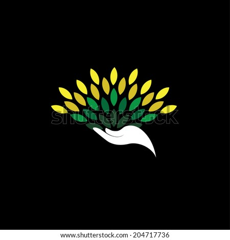 green design showing growth, protection, recycle - eco concept vector. The graphic of hand & tree leaves icon also represents contribution & abundance, sustainability, care, support, promotion