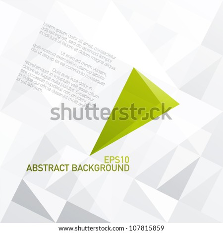 Green diamond shaped symbol on light gray patched surface. Vector, EPS10