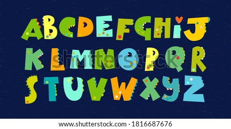 Green dinosaurs alphabet. Font for Dino prints of childrens textiles, Wallpaper, paper for Dino scrapbooking, packaging, invitation card, holidays in the style of monsters, dragons. Vector