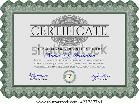 Green Diploma template or certificate template. Artistry design. Vector pattern that is used in money and certificate. With quality background.