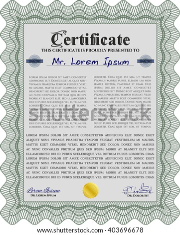 Green Diploma template or certificate template. Vector pattern that is used in money and certificate. With quality background. Beauty design.