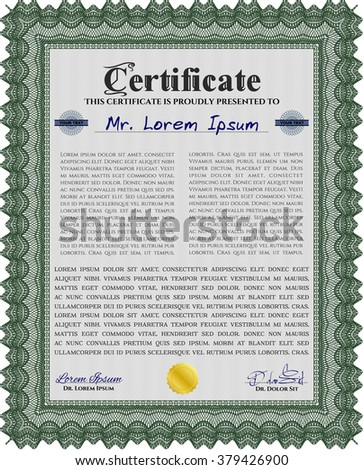 Green Diploma template or certificate template. With quality background. Beauty design. Vector pattern that is used in money and certificate.