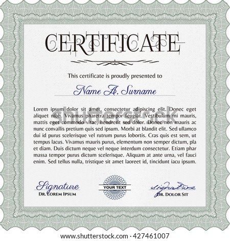 Green Diploma template or certificate template. With quality background. Vector pattern that is used in money and certificate. Beauty design.