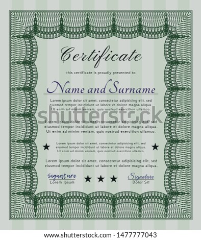 Green Diploma. With complex background. Customizable, Easy to edit and change colors. Money Pattern design.