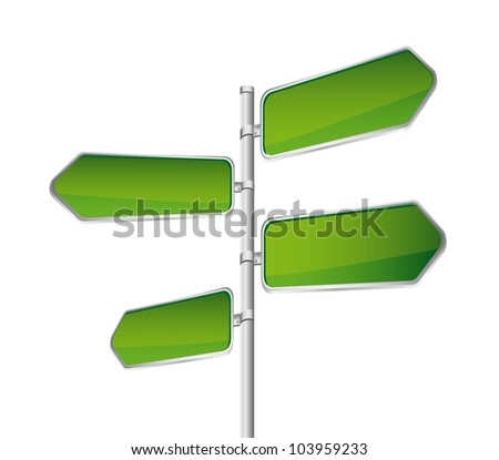 green direction road sign isolated over white background. vector