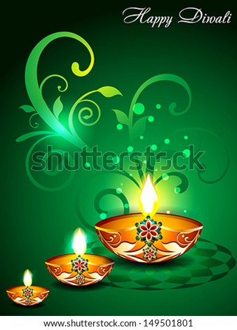 Green Diwali Background with floral Vector illustration
