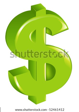 Green Dollar Sign, Isolated On White