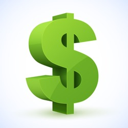 Green dollar sign. Vector illustration.