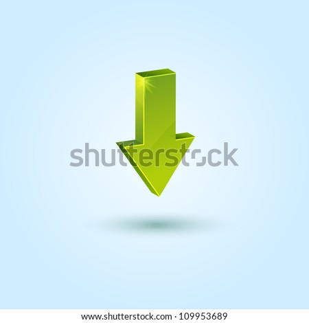Green down arrow symbol isolated on blue background. This vector icon is fully editable.