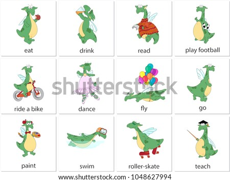 Green dragon eating, drinking, reading, playing football, riding a bike, dancing, flying, going, painting, swiming, roller-skating, teaching. English verbs in funny cartoon pictures
