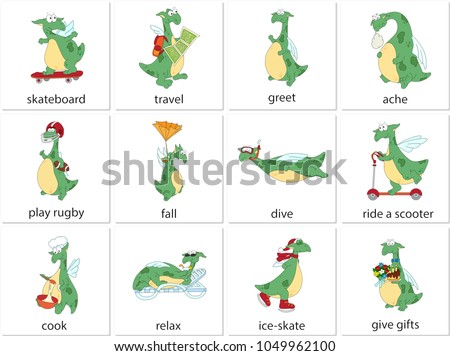 Green dragon skateboarding, traveling, greeting, aching, playing rugby, falling, diving, riding scooter, cooking, relaxing, ice-skating, giving gifts. English verbs in funny cartoon pictures