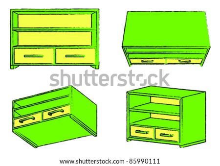 Green drawer chest with yellow elements in four views