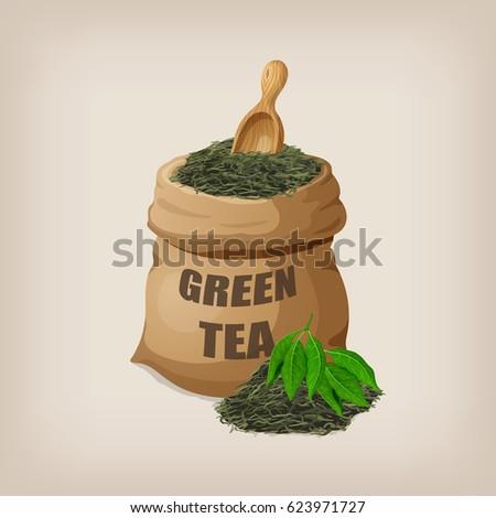 green dry tea leaves in a sack