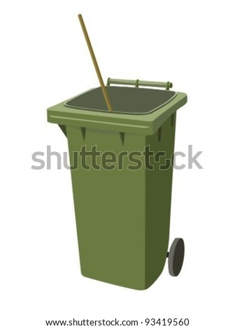 Green dumpster. Isolated on white.