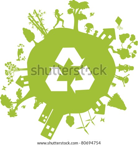 Green Earth. Globe containing various elements such as houses, buildings, people and even the recycle symbol.