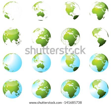 Green Earth Globe Set