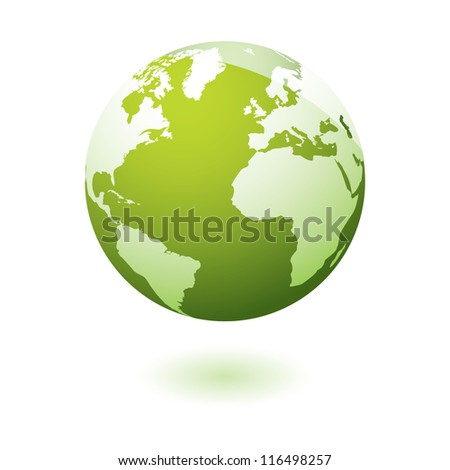 Green earth icon with eco theme