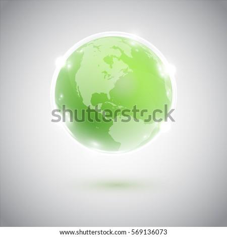 green earth in a shiny bubble