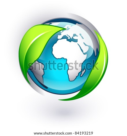 Green earth on a white background