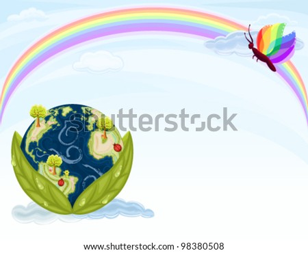 Green Earth - preserving our beautiful Nature. Planet Earth inside green leaves with blue sky and rainbow. Vector file saved as EPS AI8, no effects, easy edit and print. - stock vector