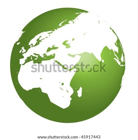 Green Earth vector illustration on white background