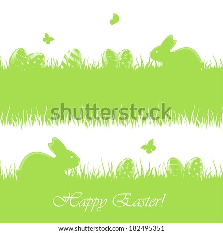 Green Easter banners with little rabbits and eggs in a grass, illustration.