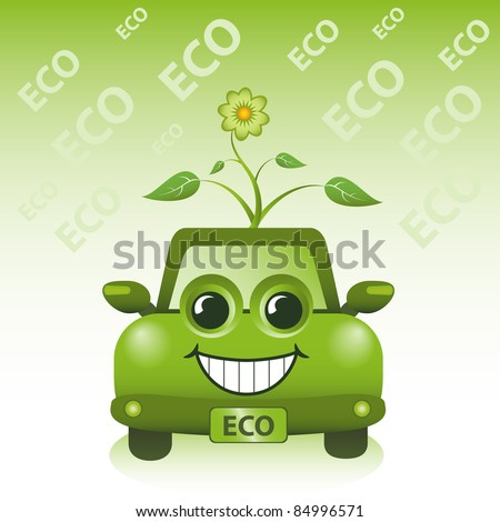 Green ECO car. Hybrid and electric car concept.