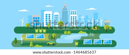 Green eco city banner, environment protection, alternative energy and ecology concept