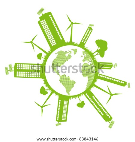 Green Eco city ecology vector background concept around globe