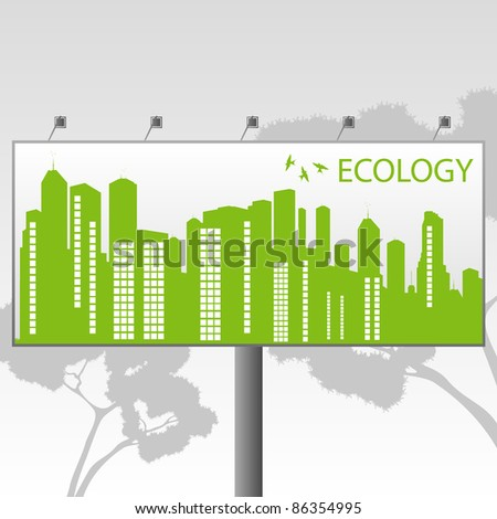 Green Eco city ecology vector background concept on billboard banner