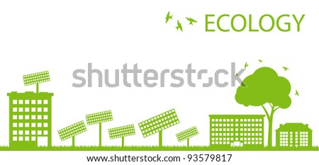 Green Eco city ecology vector background concept with solar plants